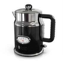 Russell Hobbs KE5550BKR Retro Style 1.7L Electric Kettle, Black & Stainless Steel