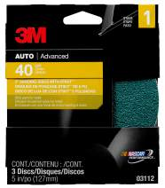 3M Sanding Disc with Stikit Attachment, 03112, 5 in, 40 grit, 3 discs per pack