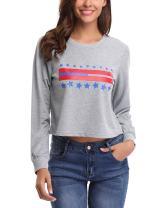 Abollria Womens Long Sleeve Round Neck Start Print Cropped Sweatshirt Pullover Tops