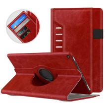 MoKo Case for All-New Amazon Fire HD 10 Tablet (7th Generation/9th Generation, 2017/2019 Release) - 360 Degree Rotating Swivel Stand Cover with Auto Wake/Sleep for Fire, Red