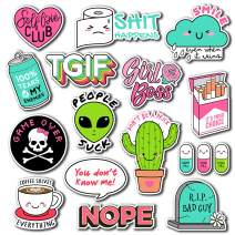 (15 Pack) Vinyl Laptop Stickers for Water Bottle - Cute Inspirational Feminism Sticker Pack for HydroFlask Phone Travel Luggage - Cool Positive Girl Power Waterproof Sticker Bomb for Teens Girls Women