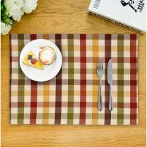 Urban Villa, Harvest Checks,100% Cotton Fused Place Mats , 14''x 20'' Over Sized ,Set of 6 Buffalo Check Plaid , Every Day Use ,Heavier Quality
