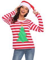 ELESOL Women Long Sleeve Christmas Pullover Sweatshirt Santa Claus T-Shirt Tops
