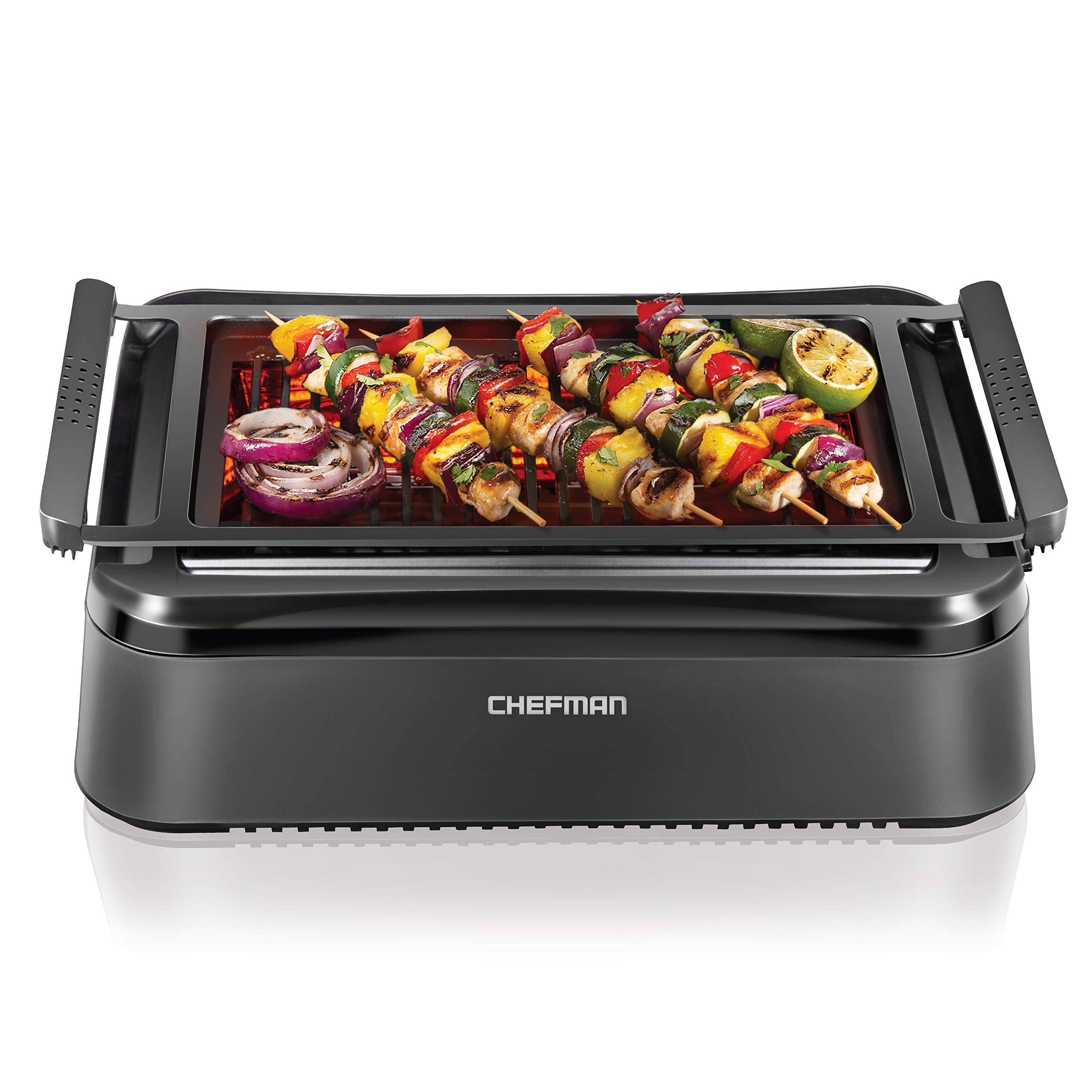 Chefman Electric Smokeless Indoor Grill with Infrared Instant Heating Technology, Adjustable Temperature Knob for Customized BBQ Grilling, Dishwasher-Safe Non-Stick Grate and Drip Tray, Black