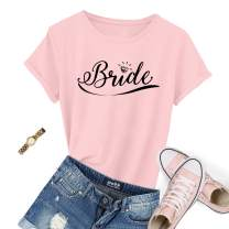 Bridal Crew Neck T Shirts Cotton Rounds Tees for Bride to Be Bachelorette Party Gifts