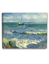 DECORARTS - The Sea at Les Saintes-Maries-de-la-Mer, Vincent Van Gogh Art Reproduction. Giclee Canvas Prints Wall Art for Home Decor 30x24