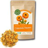 Calendula Flowers Tea | 4oz - 113 g | Whole Dried Calendula Flowers | Herbal Tea Marigold | Eat Well Premium Foods