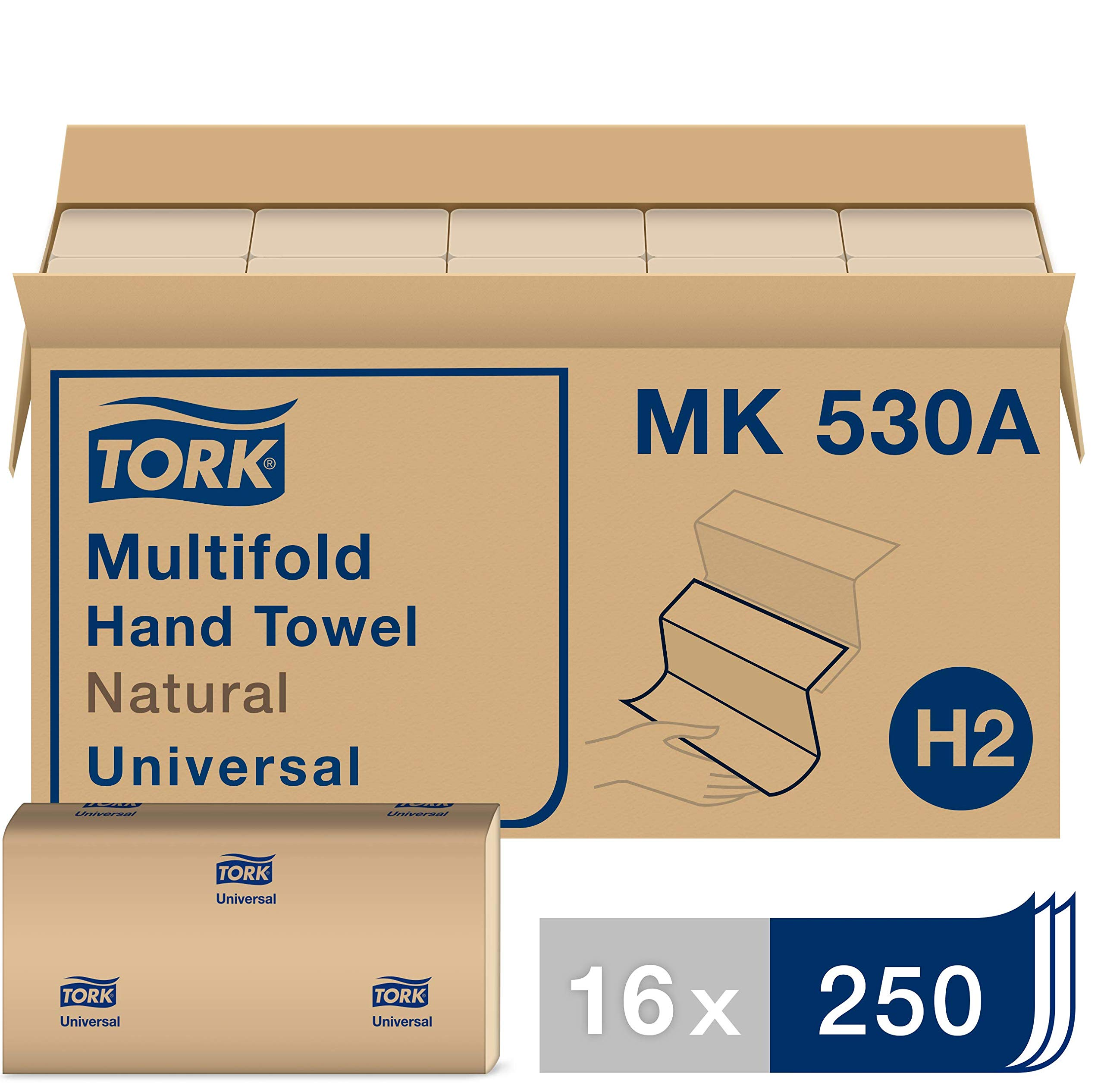 Tork Universal Multifold Paper Towel H2, Disposable Hand Towel MK530A, 100% Recycled Fibers, 1-Ply, Natural - 16 x 250 Sheets