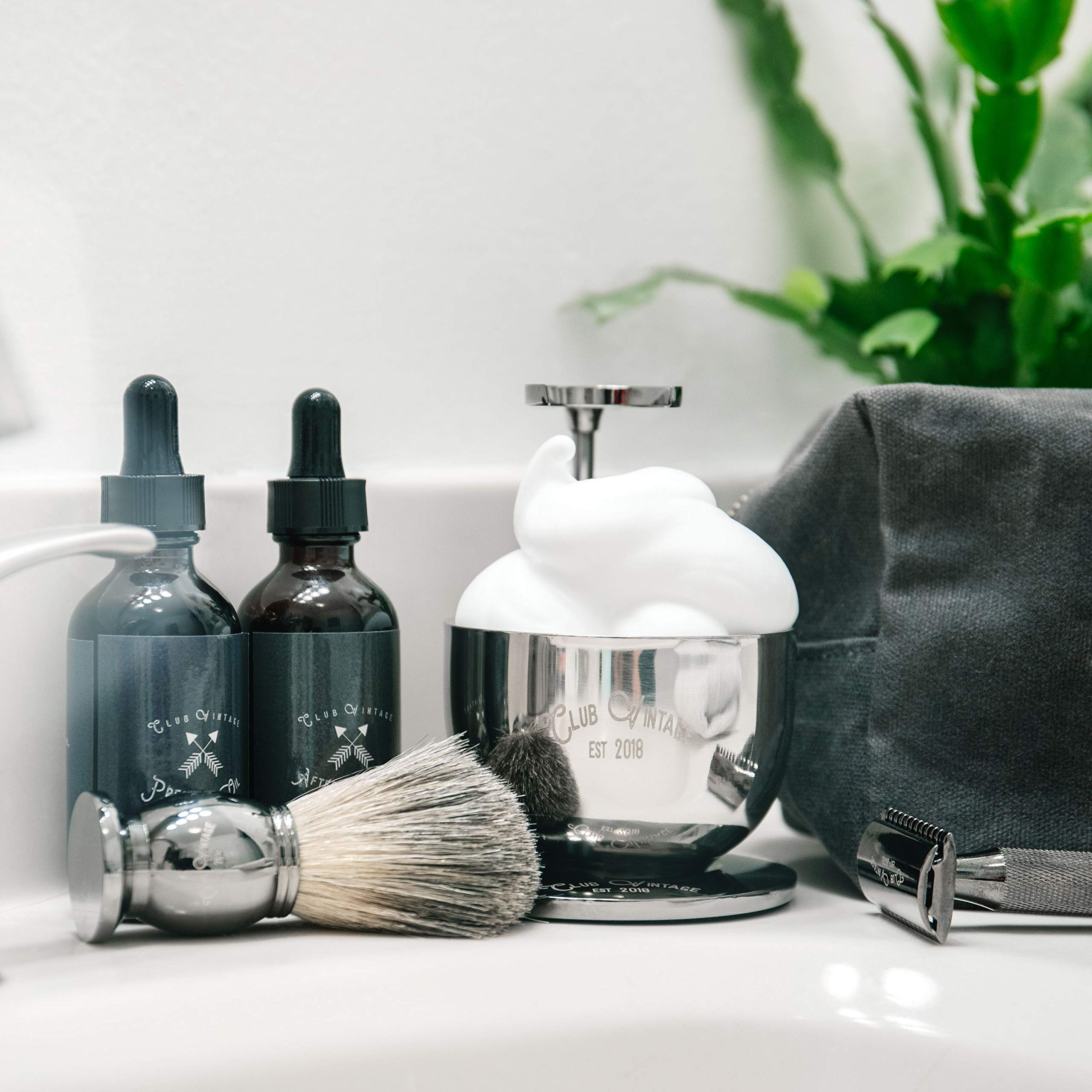 Complete Wet Shaving Kit for Men   This Deluxe Shave Set Includes 9 Essentials: A Canvas Dopp Kit, Real Badger Hair Shaving Brush, Safety Razor, Stand, Shave Bowl, 4-Pack of Shaving Soap & More
