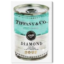 """The Oliver Gal Artist Co. Fashion and Glam Wall Art Canvas Prints 'Priceless Can' Home Décor, 30"""" x 45"""", Teal, Turquoise"""