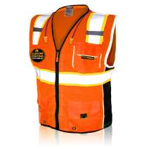 KwikSafety (Charlotte, NC) CLASSIC (10 Pockets) Class 2 ANSI High Visibility Reflective Safety Vest Heavy Duty Mesh with Zipper and HiVis OSHA Construction Work HiViz Men Women | Orange X-Large