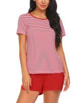 MAXMODA Women's Pajama Set Striped Pajama Short Sleeve Sleepwear Pjs Sets