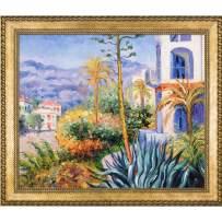 "La Pastiche Villas at Bordighera with Verona Gold Braid Framed Oil Painting, 28.75"" x 24.75"""