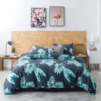 YuHeGuoJi 3 Pieces Duvet Cover Set 100% Cotton Queen Size Green Botanical Bedding Set 1 Tropical Leaf Duvet Cover with Zipper Ties 2 Pillowcases Luxury Quality Soft Breathable Comfortable Durable