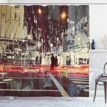 """Ambesonne Modern Shower Curtain, Urban City Streets at Gloomy Night with People Downtown Dramatic Illustration, Cloth Fabric Bathroom Decor Set with Hooks, 70"""" Long, Blue Grey"""