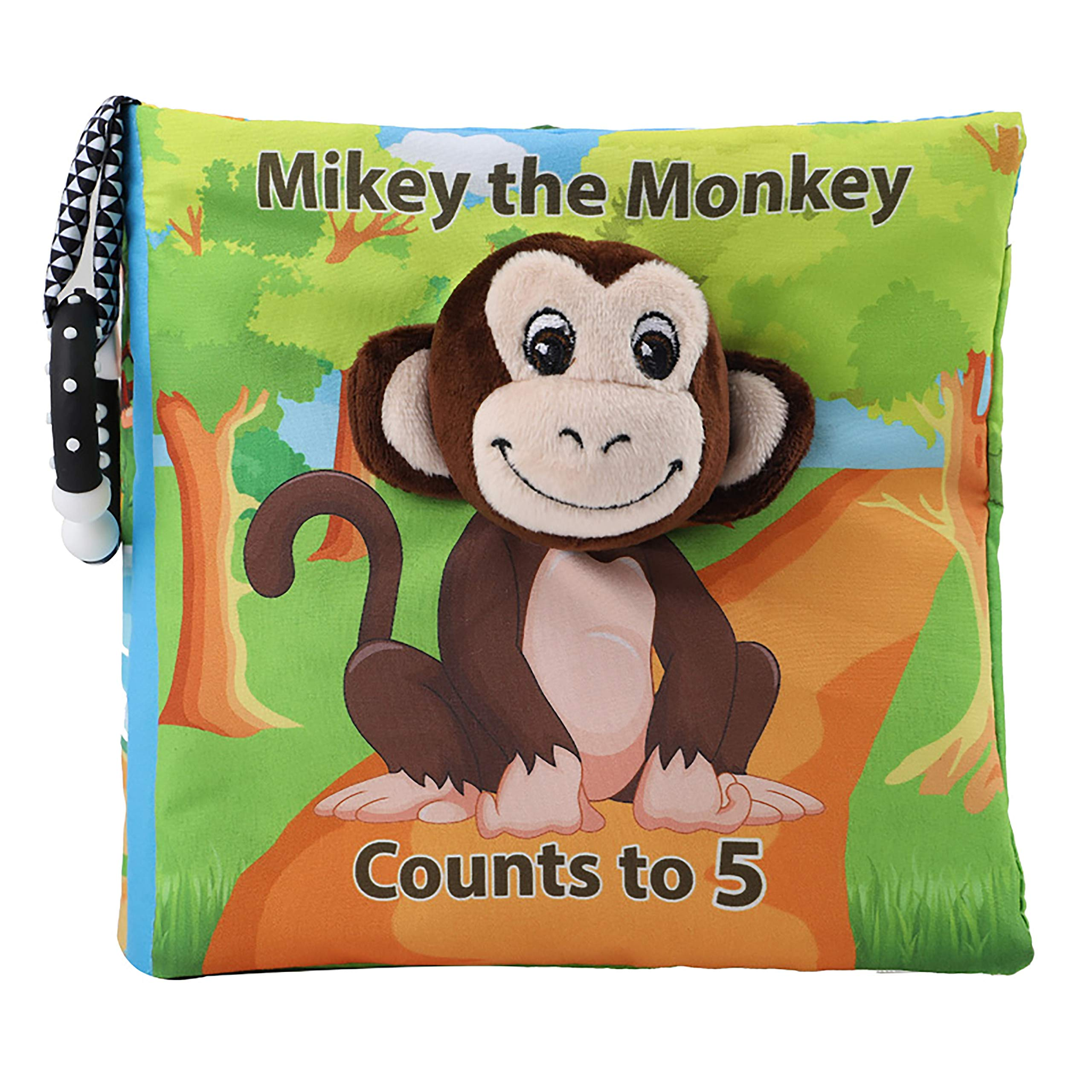 Tinzy Toys Mikey The Monkey Counts to 5 - Cute Monkey Baby Book - Cloth Baby Book with Soft, Crinkle and Vibrant Pages - 3D Pages, Mesmerizing Mirror, Teething Ring, and More
