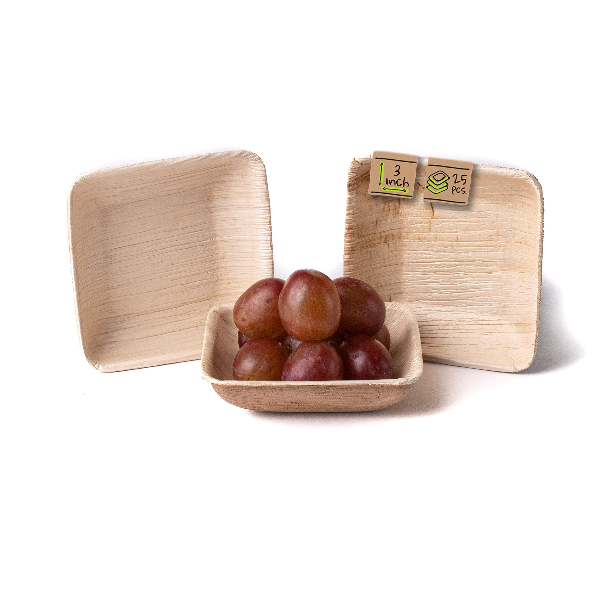"""Naturally Chic Compostable Biodegradable Disposable Plates - Palm Leaf 3"""" Small, Square Dinnerware Set - Eco Friendly Alternative - Party, Wedding, Event Plates (25 Pack)"""