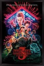 "Trends International Netflix Stranger Things: Season 3 - One Sheet Wall Poster, 14.725"" x 22.375"", Black Framed Version"