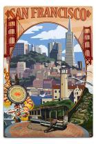 Lantern Press San Francisco, California, Montage Scenes 32945 (6x9 Aluminum Wall Sign, Wall Decor Ready to Hang)