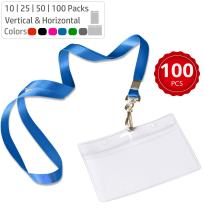 Durably Woven Lanyards & Horizontal ID Badge Holders ~ Premium Quality, Waterproof & Dustproof ~ for Moms, Teachers, Tours, Events, Businesses, Cruises & More (100 Pack, Blue) by Stationery King