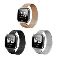 Valband 3 Pack Replacement Bands Compatible with Fitbit Versa/Versa Lite Edition/Versa 2 Smart Watch for Women and Men, with Stainless Steel Loop Metal Material (Small, Black/Silver/Rose Gold)
