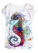 futurino Women's Colorful Sea Horse Print Drop Sleeve T Shirt Tops