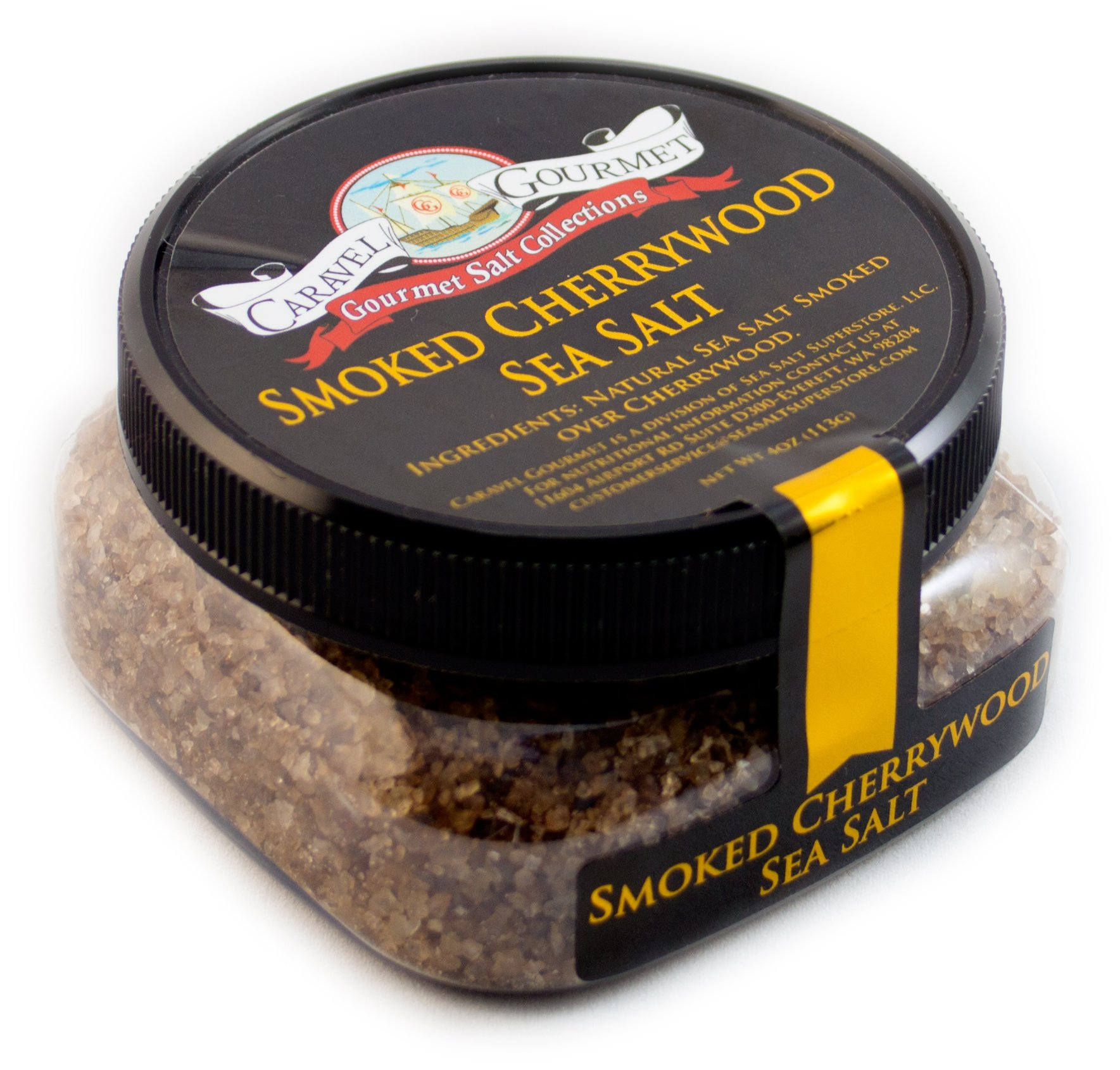 Smoked Cherrywood Fine Sea Salt - All-Natural Sea Salt Slowly Smoked for Perfect Smoky Flavor - No Gluten, No MSG, Non-GMO, Kosher - Cooking or Finishing Salt - 4 oz. Stackable Jar