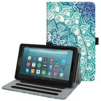 Fintie Case for All-New Amazon Fire 7 Tablet (9th Generation, 2019 Release) - [Multi-Angle] Viewing Folio Stand Cover with Pocket Auto Wake/Sleep, Emerald Illusions