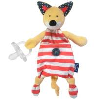 Chicco Pocket Buddies Soft Pacifier Holder-Lovey, Soothing Plush Toy Animal 0m+, Fox
