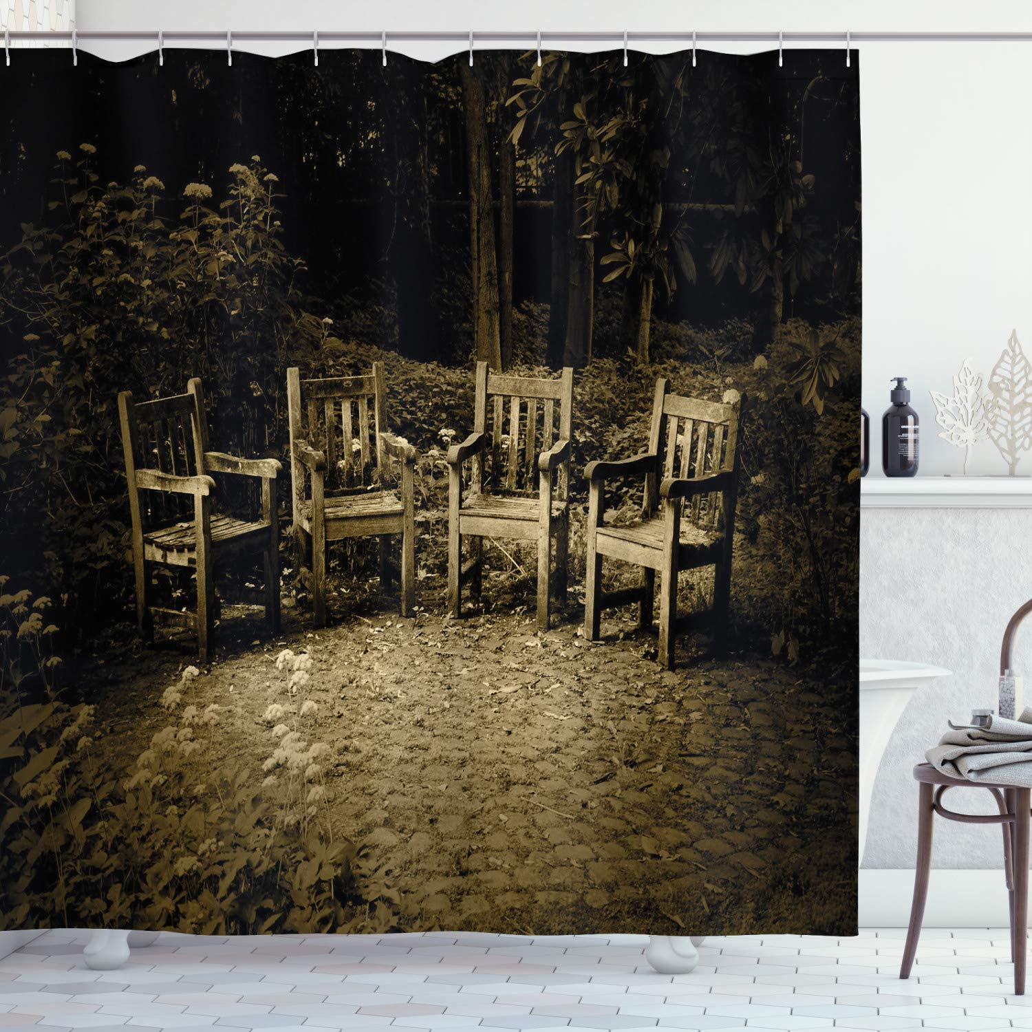 """Ambesonne Hobbits Shower Curtain, 4 Small Wooden Rustic Chairs in Backyard Hobbit Land New Zealand Sepia Image, Cloth Fabric Bathroom Decor Set with Hooks, 84"""" Long Extra, Brown"""