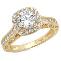 Clara Pucci 1.8 CT Round Cut Pave Halo Wedding Bridal Anniversary Promise Engagement Ring Band 14k Yellow Gold