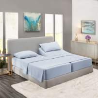 Nestl Bedding 5 Piece Sheet Set - 1800 Deep Pocket Bed Sheet Set - Hotel Luxury Double Brushed Microfiber Sheets - Deep Pocket Fitted Sheet, Flat Sheet, Pillow Cases, Split Cal King - Ice Blue
