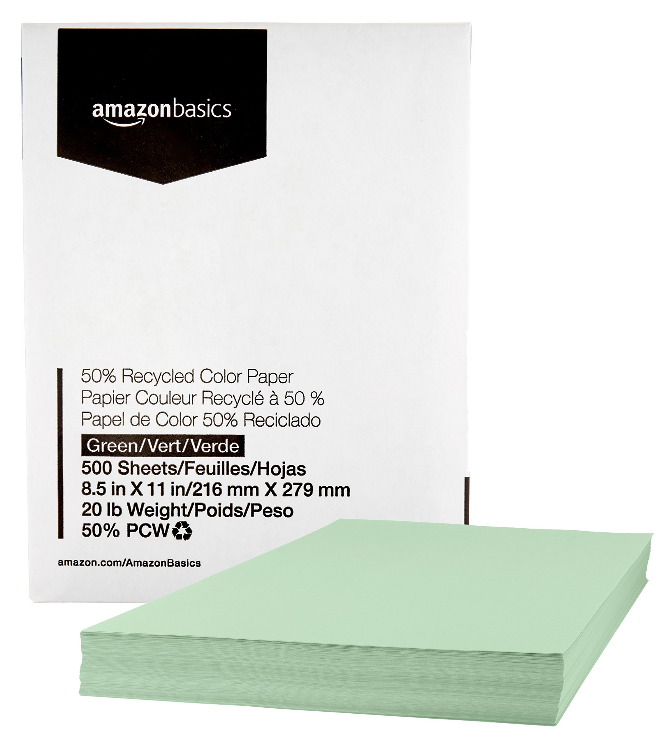 AmazonBasics 50% Recycled Color Printer Paper - Green, 8.5 x 11 Inches, 1 Ream (500 Sheets)
