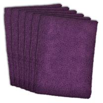DII Microfiber Multi-Purpose Cleaning Cloths Perfect for Kitchens, Dishes, Car, Dusting, Drying Rags, 12 x 12, Set of 6 - Eggplant