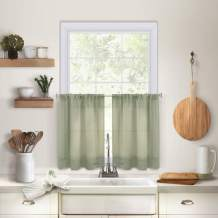 """Elrene Home Fashions Pintuck Kitchen Window Tier Set of 2, 30"""" x 24"""", Sage, 2 Pieces"""