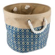"DII Collapsible Burlap Storage Basket or Bin with Durable Cotton Handles, Home Organizational Solution for Office, Bedroom, Closet, Toys, & Laundry (Medium Round- 15x12""), Blue Ikat"