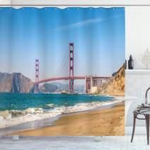 "Ambesonne Landscape Shower Curtain, Panoramic View of Golden Gate Bridge San Francisco Coastline Nature Seascape, Cloth Fabric Bathroom Decor Set with Hooks, 70"" Long, Turquoise Blue"