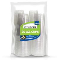Freshware Plastic Cups [20 oz, 100-PCS] - Disposable Cold Drink Party Soda Cups, Crystal Clear PET Cups