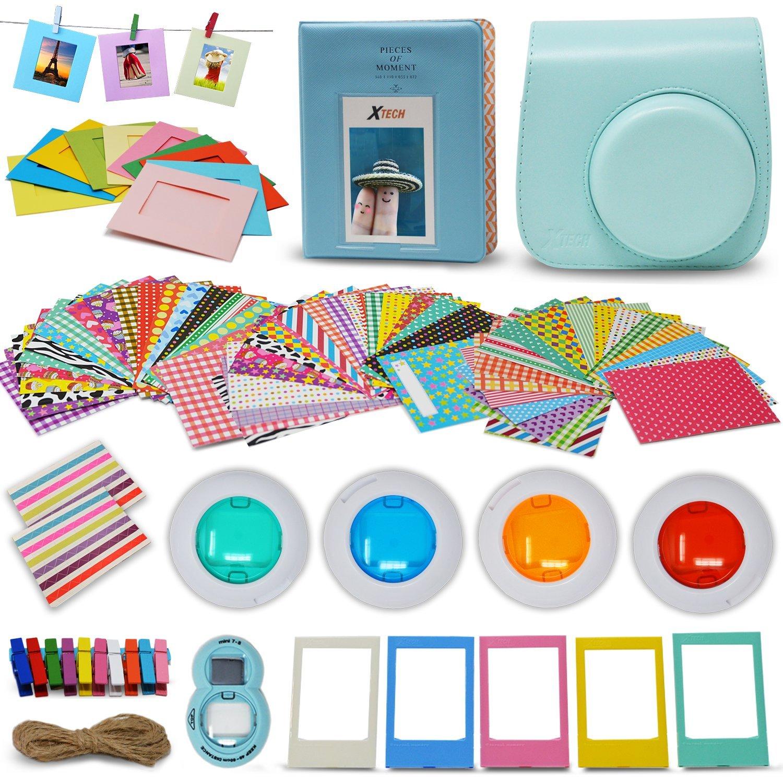 Xtech - Fuji Mini 9/8 Accessories kit Includes: Ice Blue Mini 9 Camera Case, 60 Mini Photo Sticker Frames, Mini 9 Photo Album, 4 Mini 9/8 Colorful Filters, Large Selfie Mirror + More