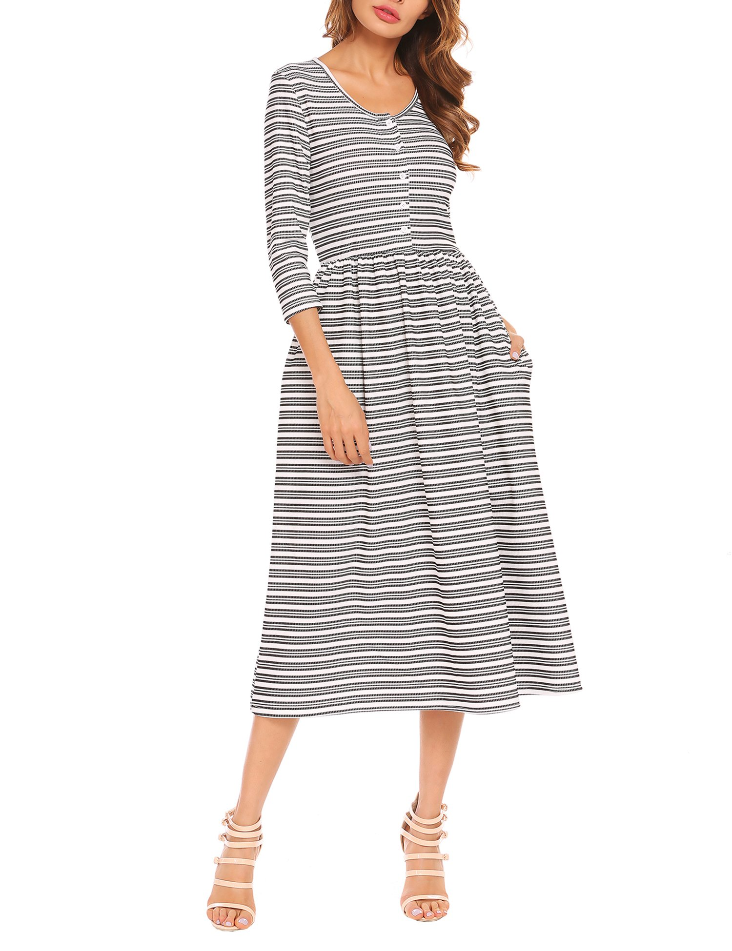 ACEVOG Women Scoop Neck 3/4 Sleeve Button Front Striped Casual Maxi Dress with Pocket Black and White