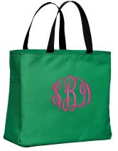 Personalized Monogrammed Shoulder Bag with Custom Text | Essential Canvas Tote Bag with Customizable Embroidered Monogram (Kelly Green)
