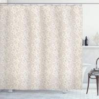 "Lunarable Cream Shower Curtain, Old Lace Design with Soothing Color Scheme Vintage Style Classical Inspired Image, Cloth Fabric Bathroom Decor Set with Hooks, 75"" Long, Cream Tan"