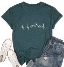MYHALF Women Mountain Hiking T Shirt Cute Heartbeat Graphic Tee Top Outdoor Camping Casual Shirt Top for Travel