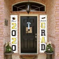 ORIENTAL CHERRY Graduation Banners 2020 Congrats Grad - Graduation Party Decorations Supplies - Hanging Flags Porch Sign Outdoor Home Door Décor - Black Gold White