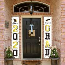 ORIENTAL CHERRY Graduation Banners 2020 Congrats Grad - Graduation Party Decorations Supplies - Hanging Flags Porch Sign Outdoor Home Door Décor - Black Gold White