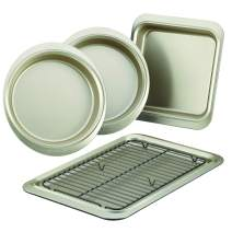 Anolon 59967 Allure Nonstick Bakeware Set includes Nonstick Cookie Sheet with Rack, Baking Pan and Cake Pans - 5 Piece, Onyx/Black/Pewter