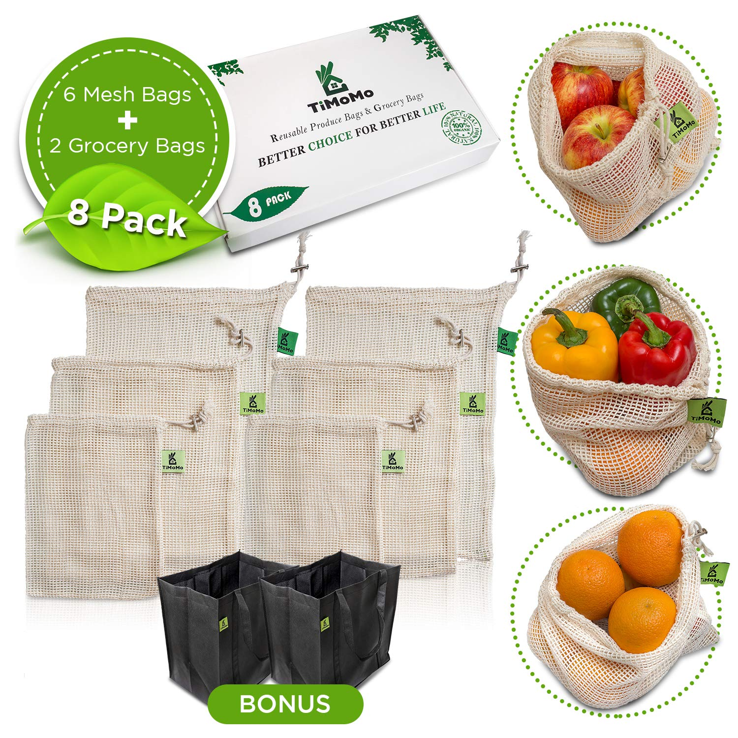 Reusable Produce Bags With Reusable Grocery Bags - Environmentally Friendly Organic Cotton Mesh Bags Bundled With Grocery Bags - Double Stitching, Durable, Easy To Clean, Machine Washable