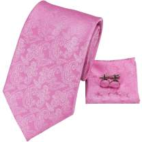 Hi-Tie Mens Silk Ties Jacquare Woven Wedding Neckties with Hanky Cufflinks Set