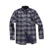 AOLIWEN Men's Long Sleeve Shirts- Thermal Work Padded Warm Shirts Quilted Lined Flannel Heavyweight Plaid Fleece Shirt