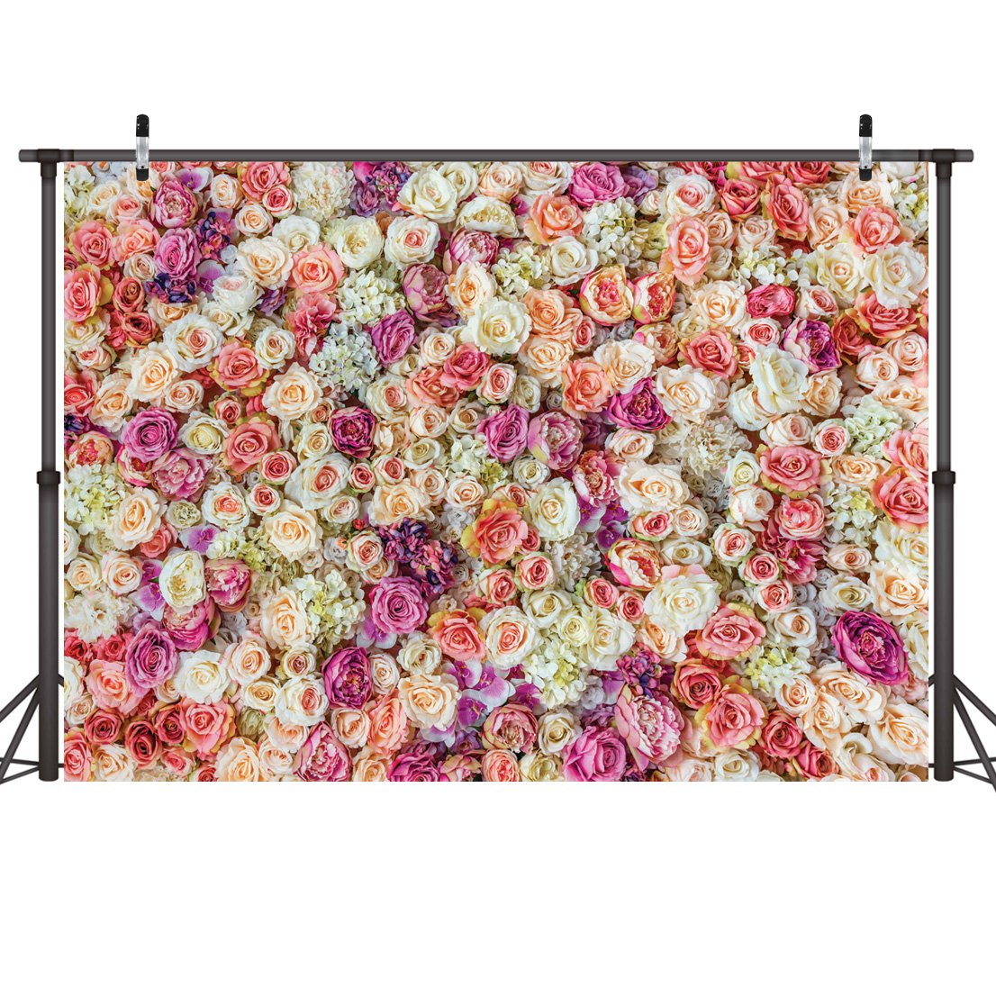 LYWYGG 8X6FT Flower Wall Backdrop Blooming Fresh Rose Flowers Wedding Decoration Background Party Backdrop Flowers Birthday Backdrop New Baby Photoshoot Backdrop CP-48-0806
